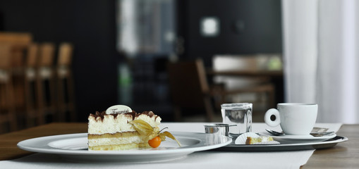 Tiramisu with Physalis and coffee espresso