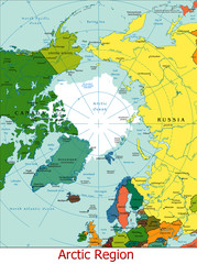 World Earth Arctic region continent country map