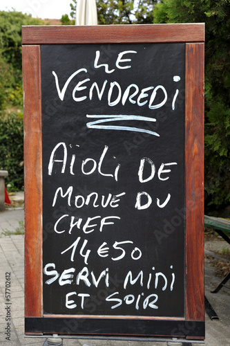 Outside menu sign for aioli