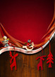 Red and Wooden Christmas Background