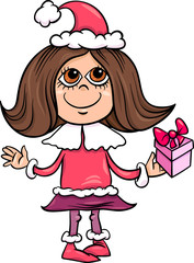 snowflake or santa girl cartoon