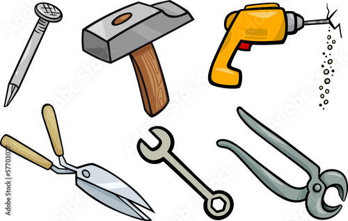 tools objects cartoon illustration set