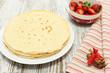 Pile of pancake and ingredients