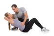 Nice woman exercising with her personal trainer.