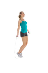 Young woman is training with skipping rope.