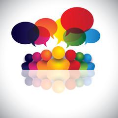 social media communication or office staff meeting or kids talki