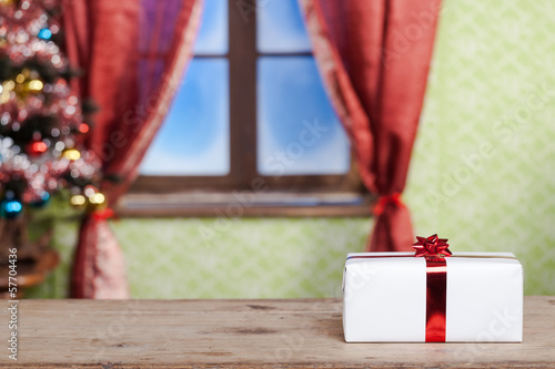 Gift box on a Christmas background