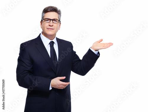 Businessman presenting copyspace.