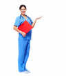 Medical nurse presenting copyspace.