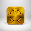 Technology Icon with Gold Metal Textured Knob