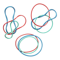 Red, green and blue elastic rubber bands isolated on white