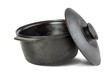 Cast iron cauldron , cover opened