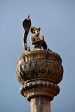 King Yoganarendra Malla bronze statue on a column. Nepal