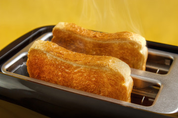 Toaster with two hot toasts