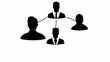 Black network user profile organization chart animation