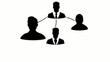 Black network user profile organization chart animation