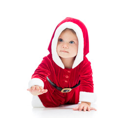 crawling baby girl in Santa clothes