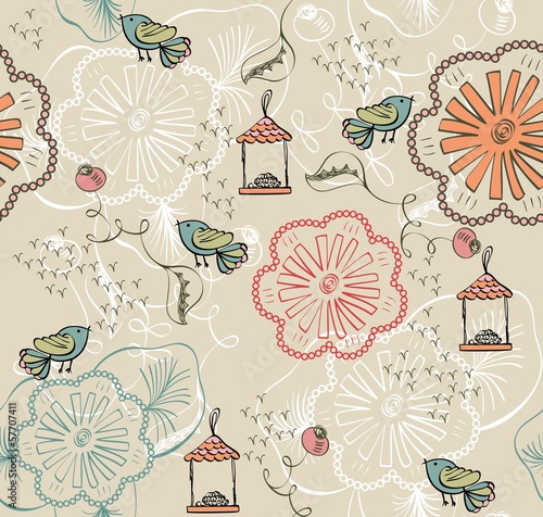 seamless pattern with flowers and birds.