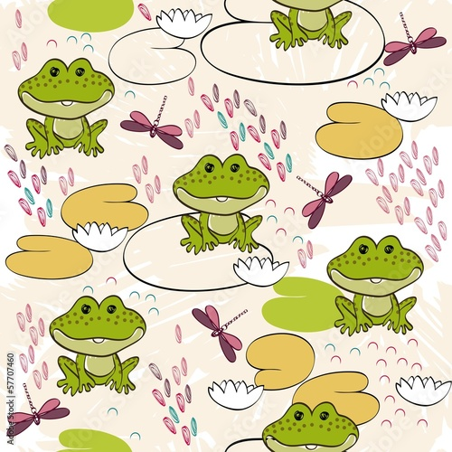 Sweet seamless pattern with frogs and dragonflies