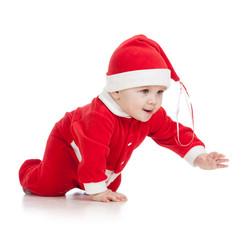 crawling baby in Santa clothes