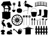 Garden decorations and tools set illustrated on white