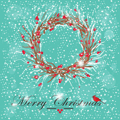 holly wreath christmas background with cardinal bird