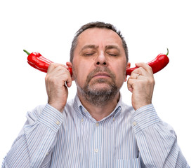 middle-aged man with a red peppers