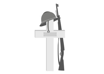 Croix, casque, fusil