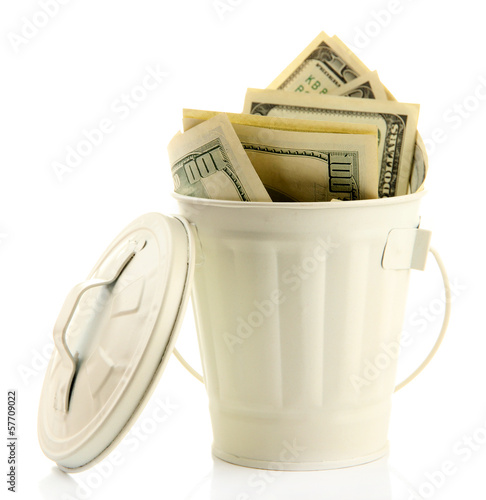 Money in  trash can, isolated on white