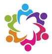 Teamwork union 6 people logo vector