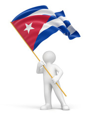 3D Cuban flag  (clipping path included)