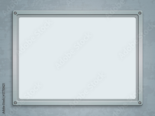 Metallic frame on grunge background