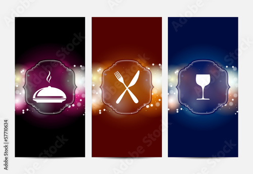 three abstract banners with restaurant theme