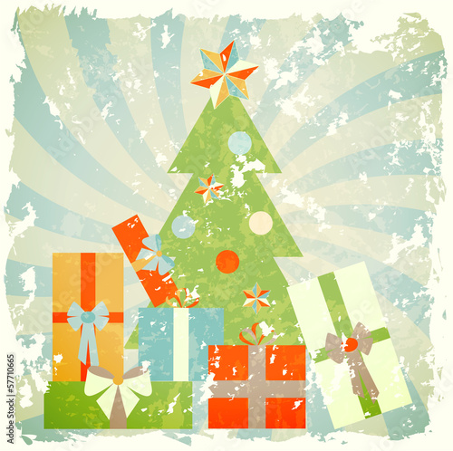 christmas tree with gifts, illustration in retro style
