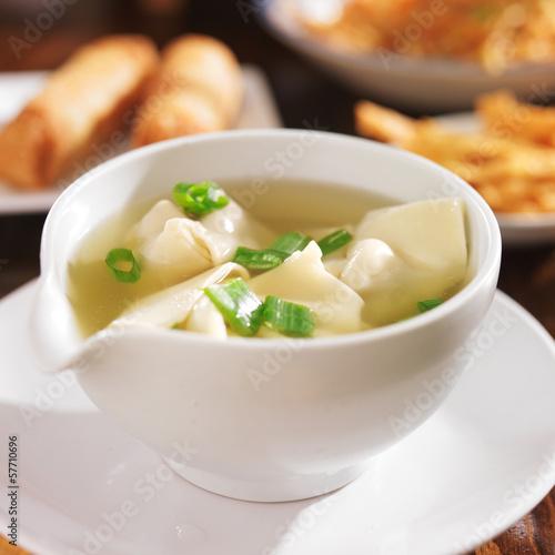 Plagát, Obraz chinese food - bowl of wonton soup