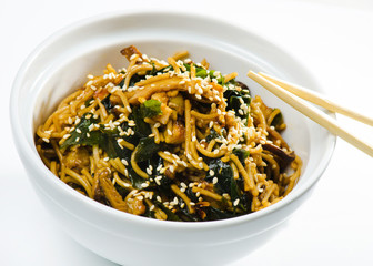 noodles with chicken   and vegetables in Japanese styl