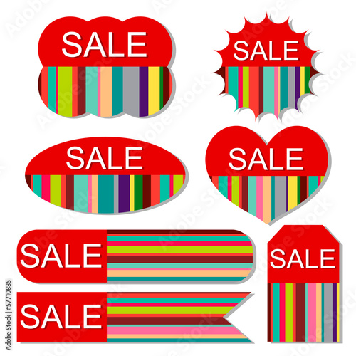 Vector set of colorful sale tags on isolated white background