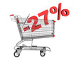 shopping cart with 27 percent discount isolated on white backgro