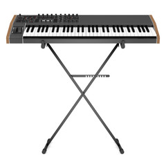black synthesizer on stand isolated on white background