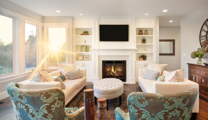 Living Room with Sunstar in Luxury Home