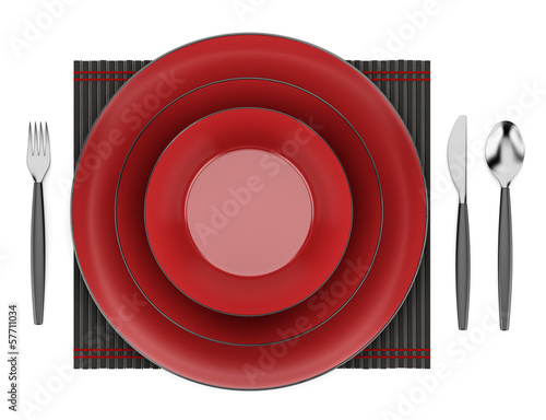 black and red table setting isolated on white background