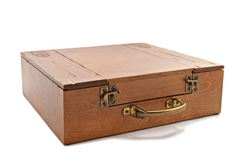 Wooden brown casket isolated