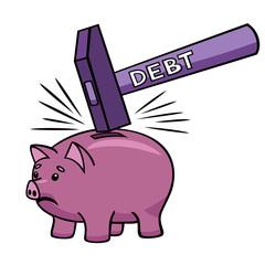 Breaking the piggy bank.