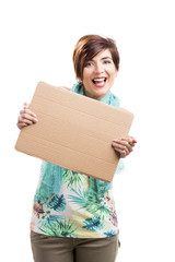 Beautiful woman with a cardboard