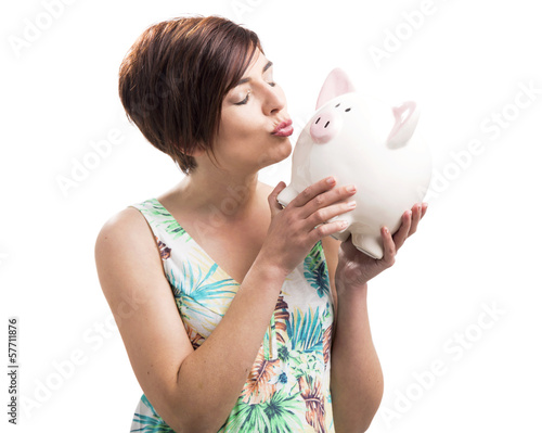 Kissing a piggy bank
