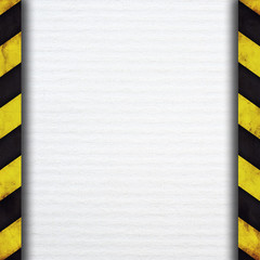 Warning stripes and paper plate