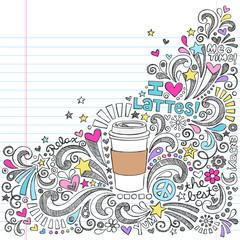 Coffee Latte Hot Drink Back to School Sketchy Doodles