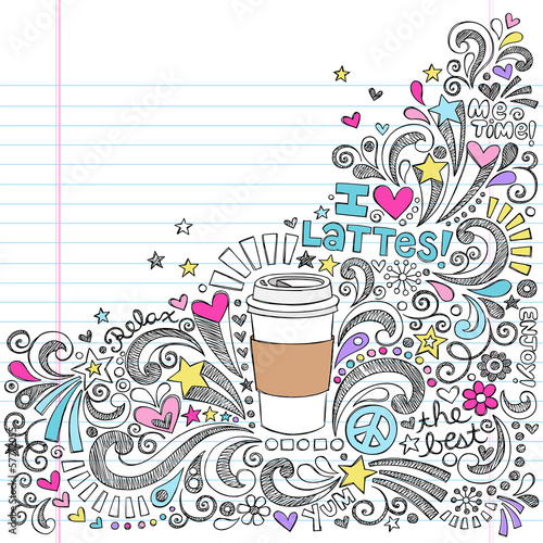 Coffee Latte Hot Drink Back to School Sketchy Doodles