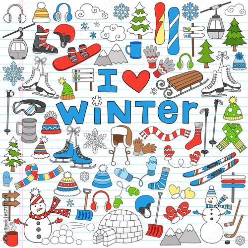 Winter Fun Back to School Notebook Doodles- Vector Illustration
