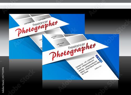 Blue photographer business card